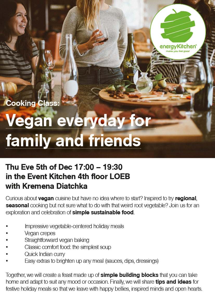 COOKING CLASS: VEGAN EVERYDAY FOR FAMILY AND FRENDS